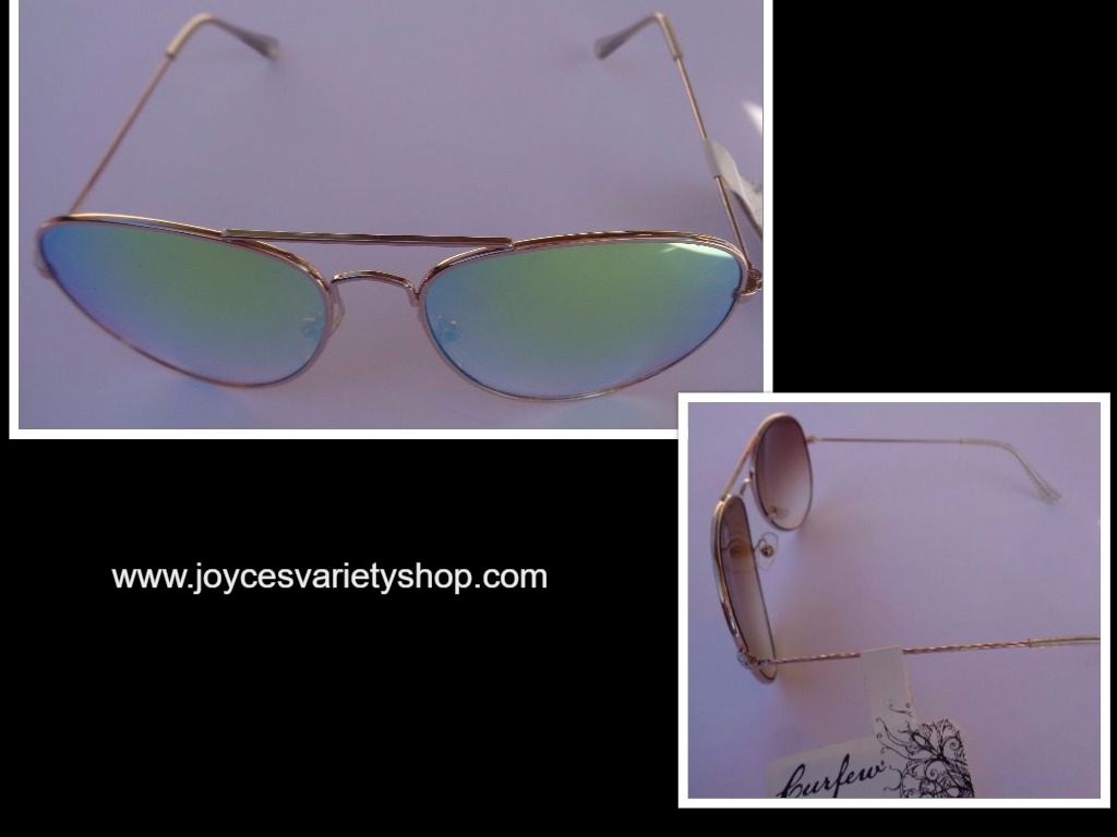 Curfew Gold Metal Frame Mirrored Sunglasses NWT 100% UV Protection