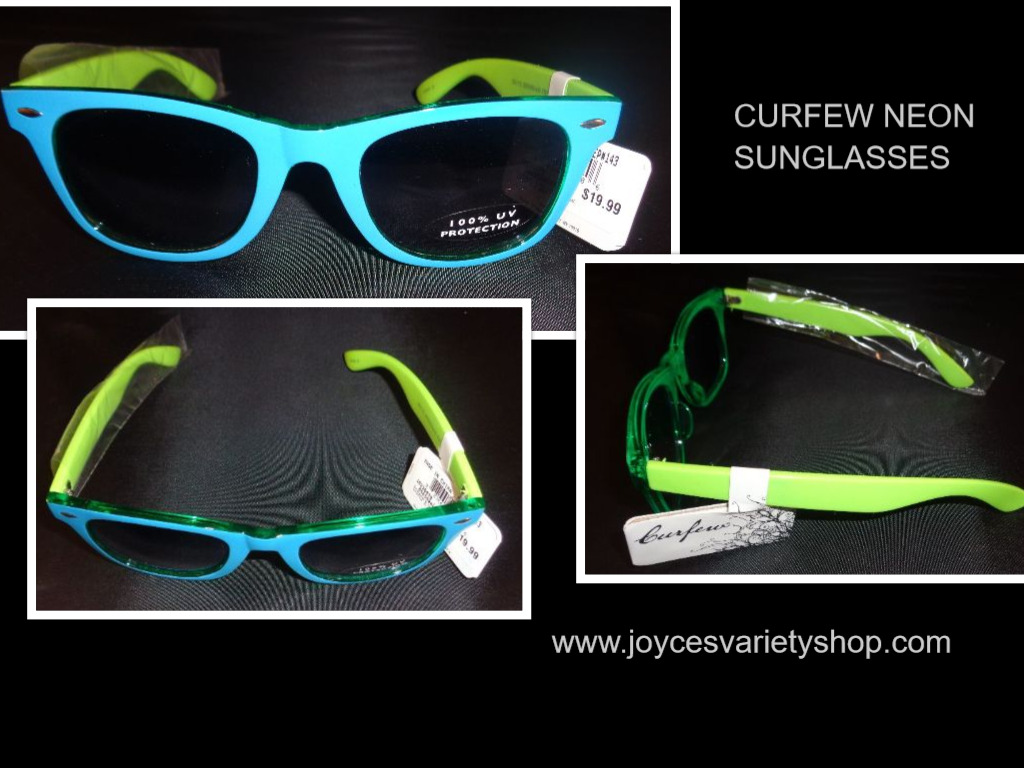 Curfew Tri Green Neon Sunglasses NWT 100% UV Protection