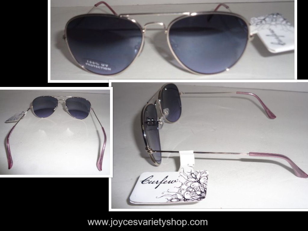 Curfew Sunglasses Silver Metal NWT 100% UV Protection