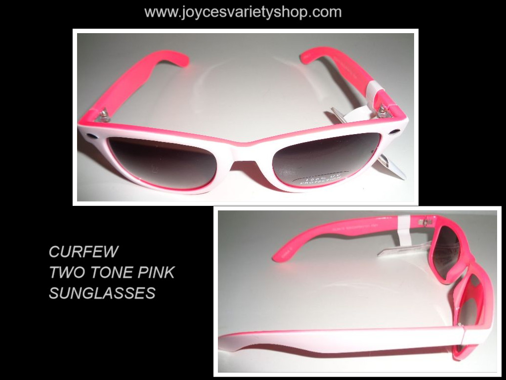 CURFEW Women's SunglassesTwo Tone Pink & White NWT 100% UV Protection