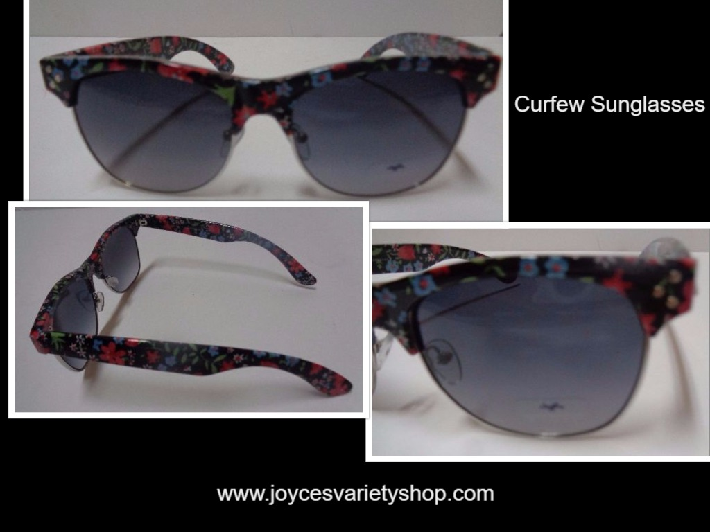 CURFEW Women's Sunglasses Daisy Floral Print NWOT 100% UV Protection