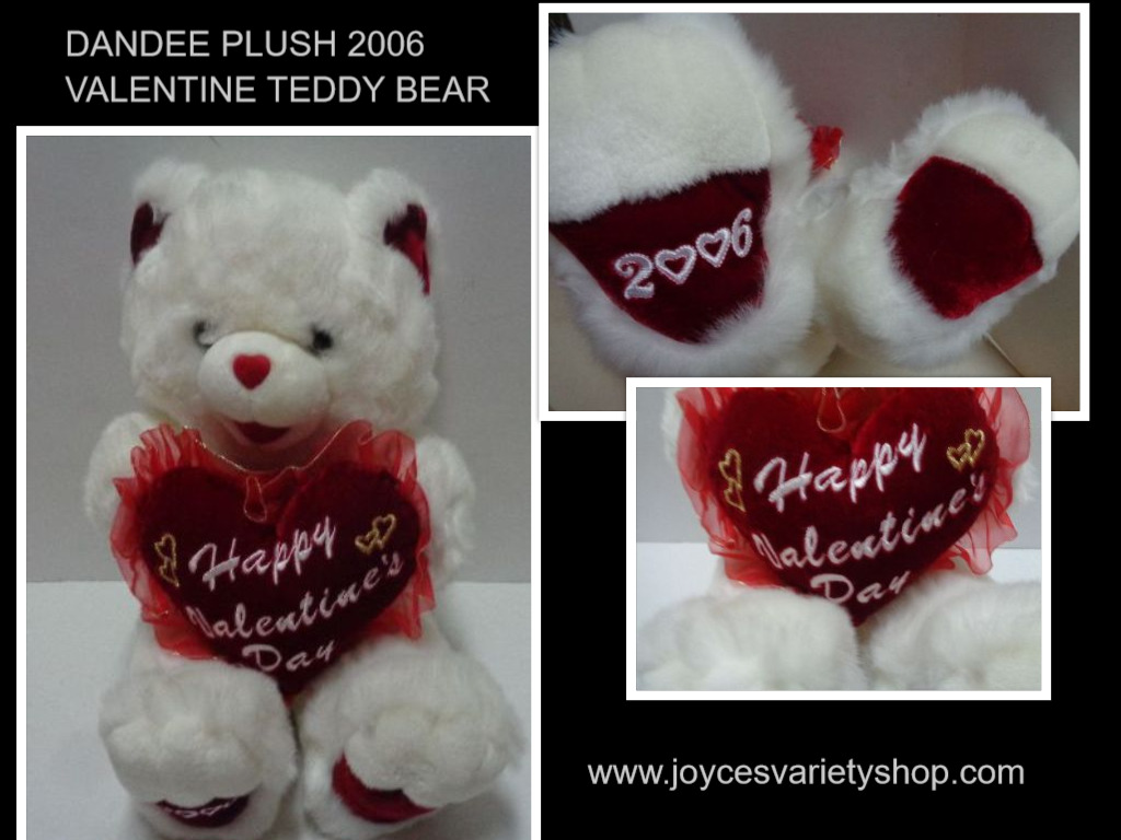 DANDEE 2006 White Plush Teddy Bear Happy Valentine's Heart 22""