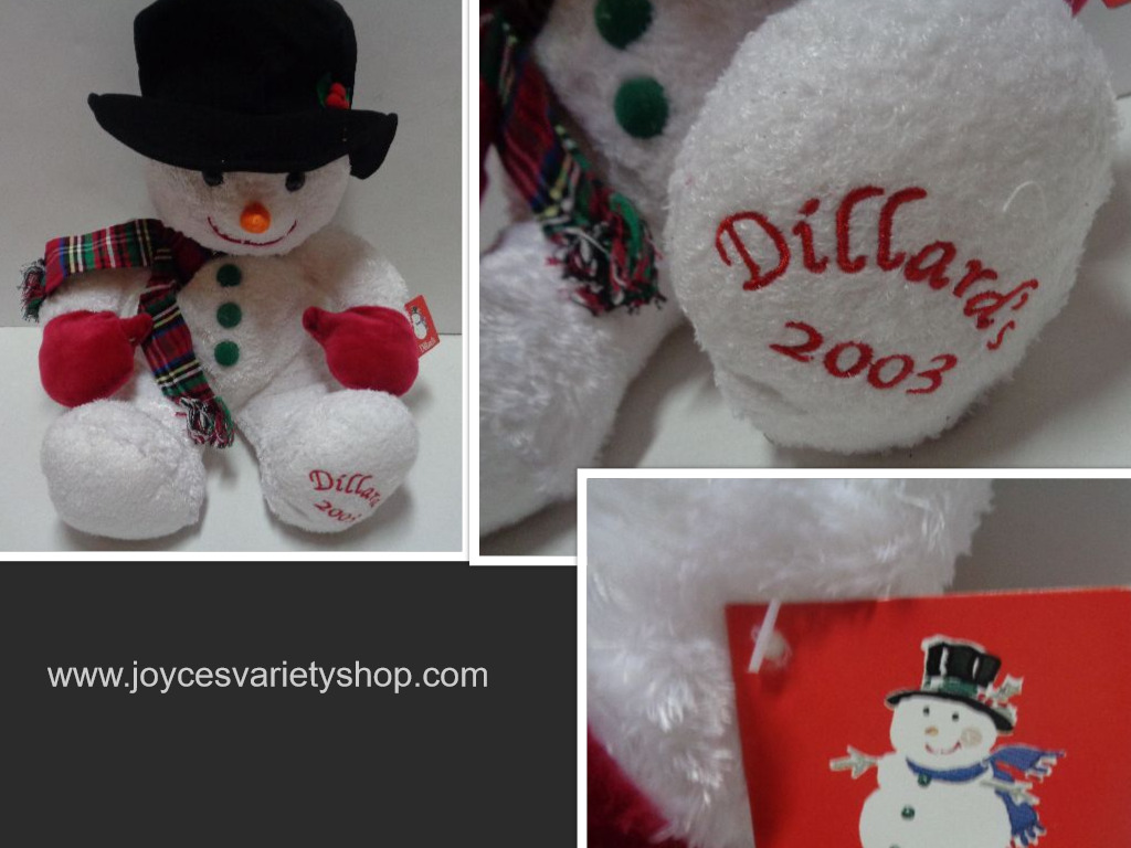 Dillard's 2003 Christmas Holiday Snowman Teddy Bear NWT 22