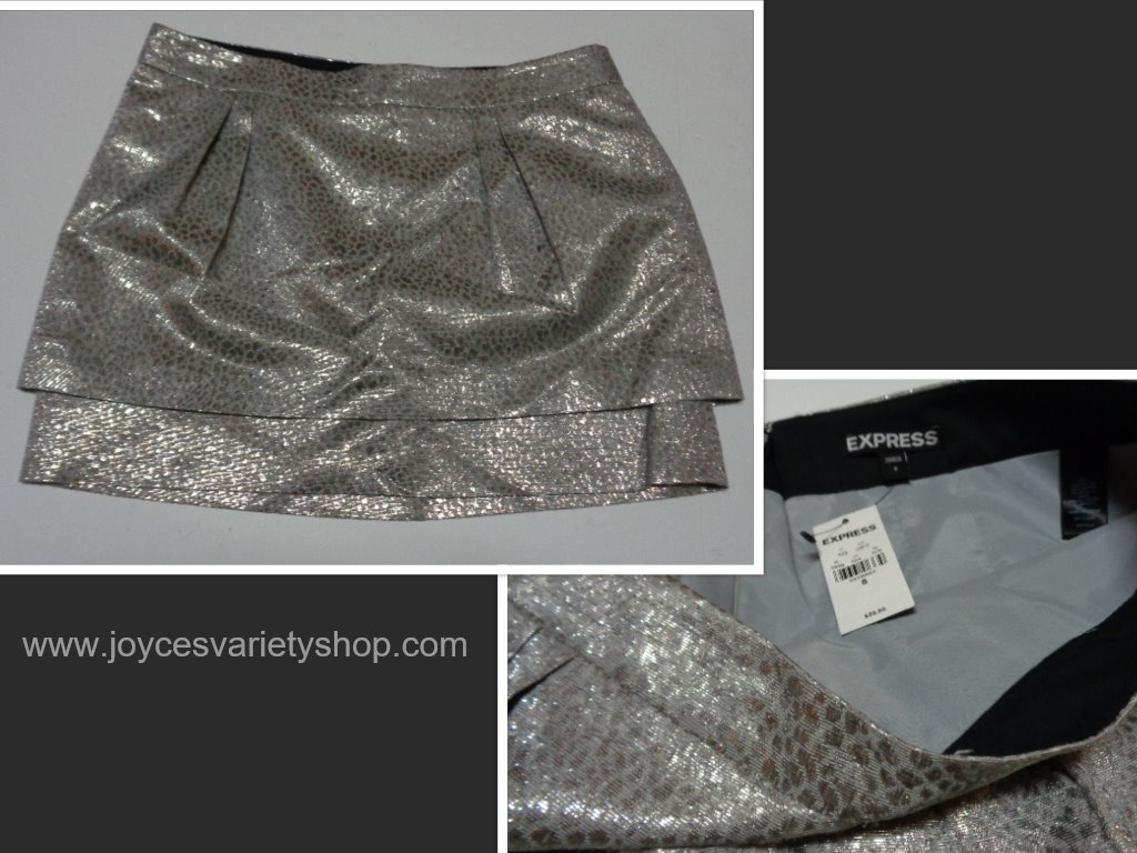 Express Silver Mini Skirt