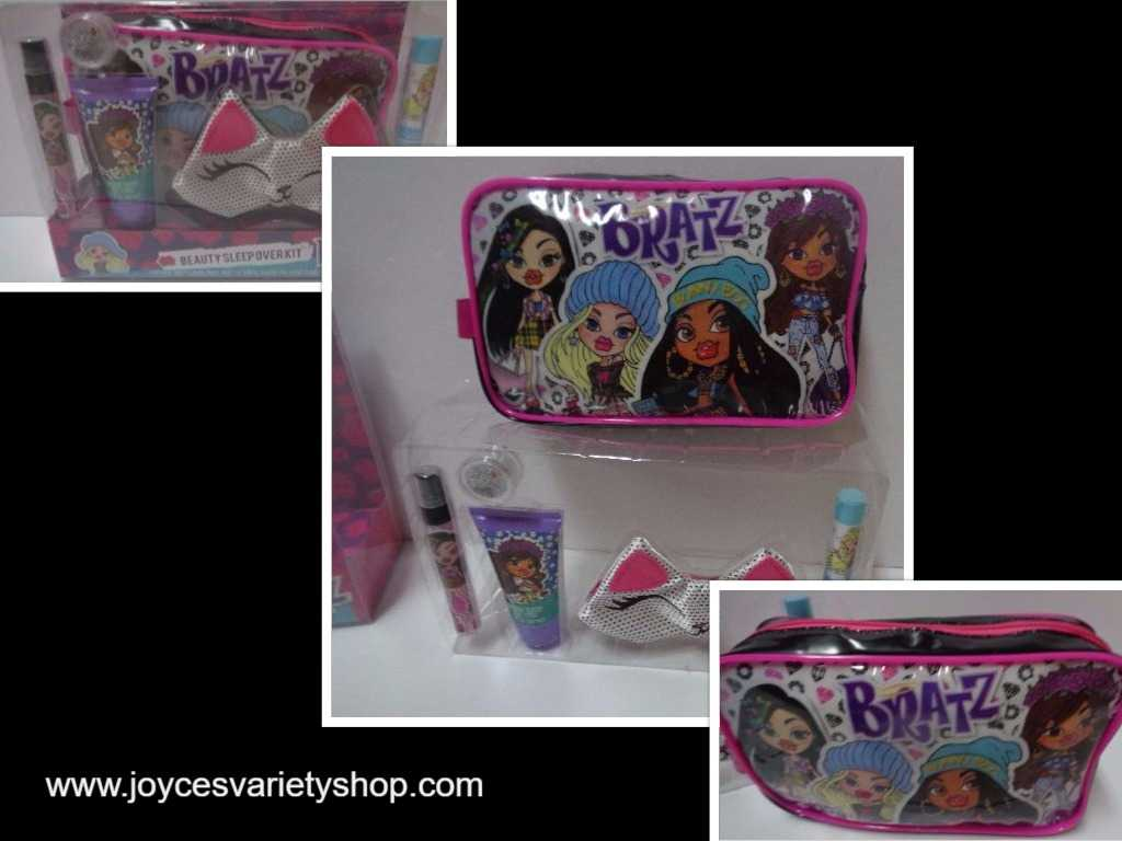 Girl's Beauty Sleep Over Kit Bratz Bag NIB Lotion Lip Balm Glitter Kitty Mask