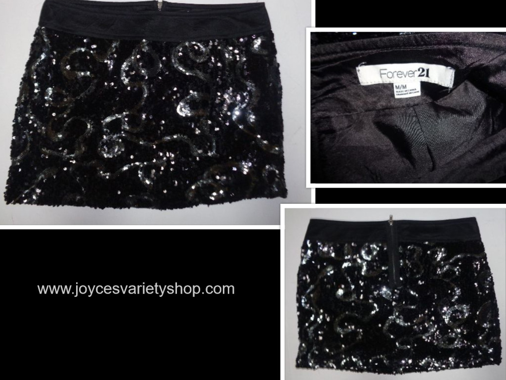 Forever 21 Black Sequined Mini Skirt NWOT SZ M/M