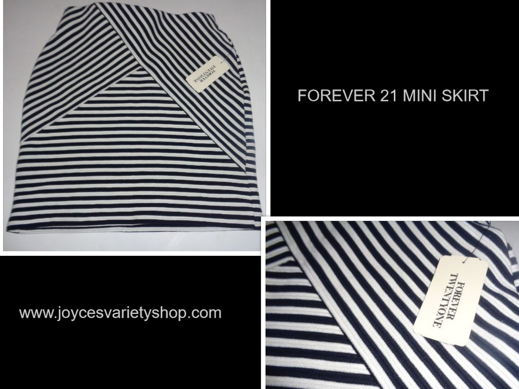 Forever 21 Mini Skirt Navy & Cream Cross Stripes NWT SZ SMALL