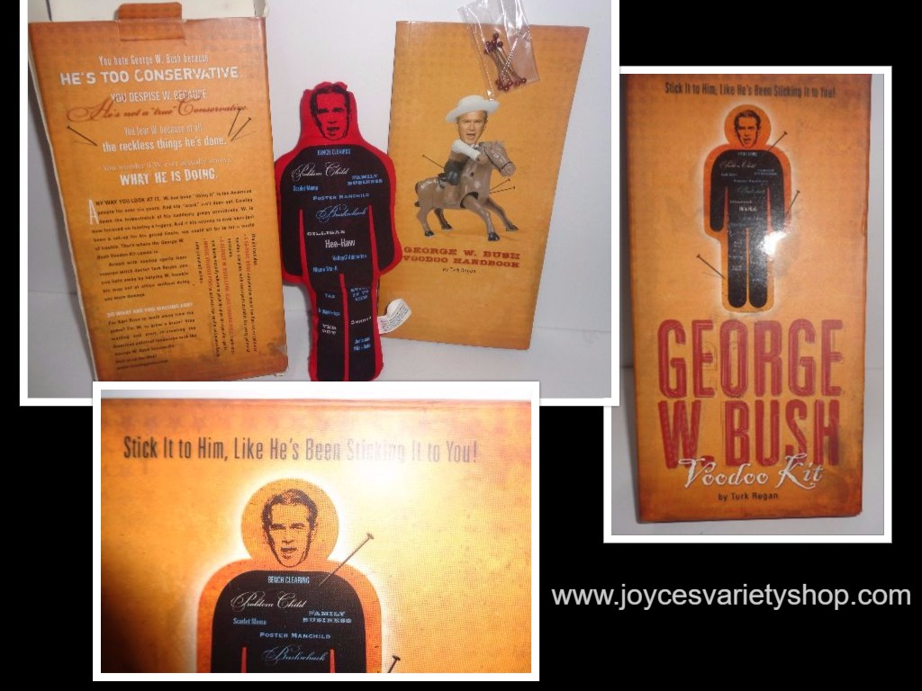 George W. Bush Collectible Voodoo Kit Complete Box, Doll, Book, Pins