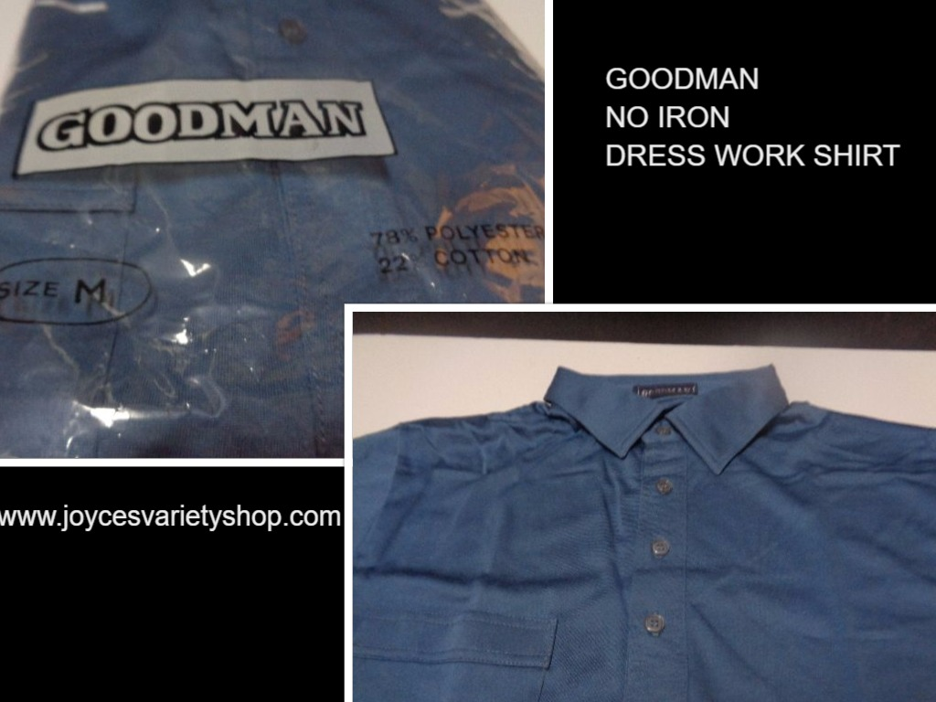 Men's Golf Work Dress Shirt NWT Ocean Blue Short Sleeve No Iron GoodMan Size M