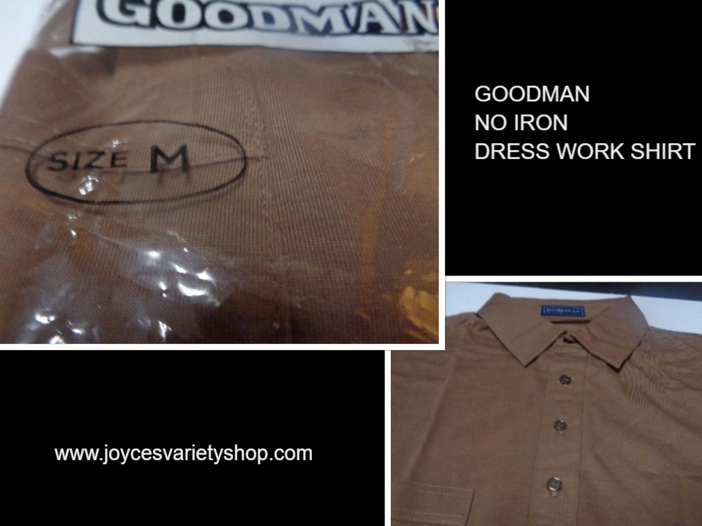 Men's Golf Work Dress Shirt NWT Brown Short Sleeve No Iron Shirt Size M