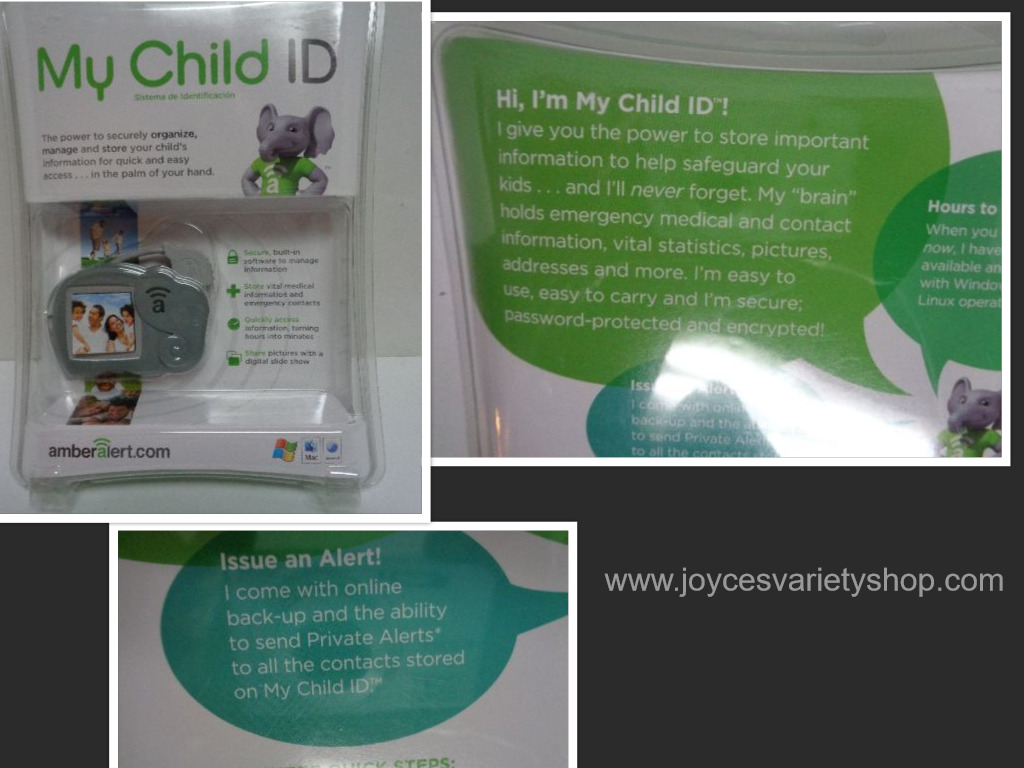 New Amber Alert My Child ID Safeguard Child Vital Information Gray Elephant USB
