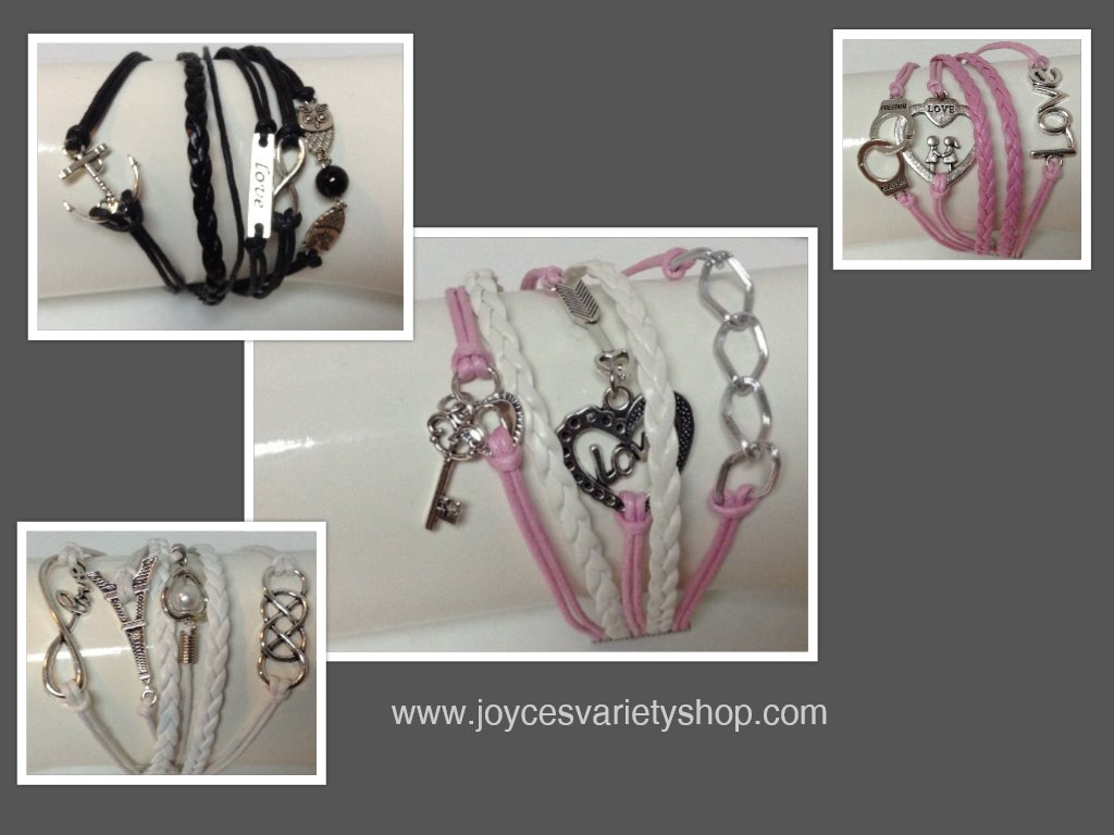 Leather Bracelet Pink & White