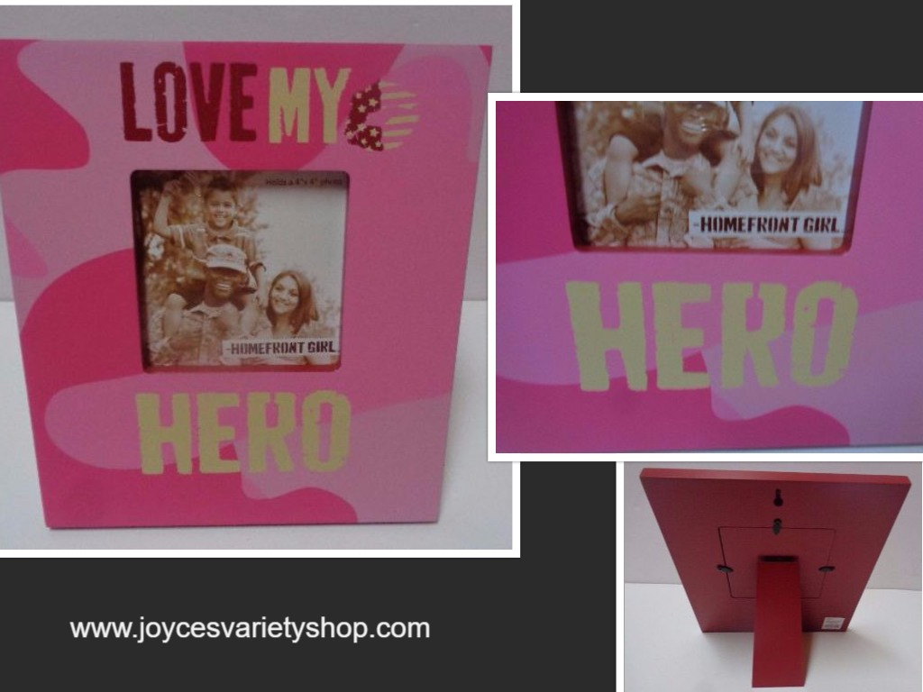 LOVE MY HERO Homefront Girl Wood Photo Frame NWT 4 x 4 photo Pink Camo