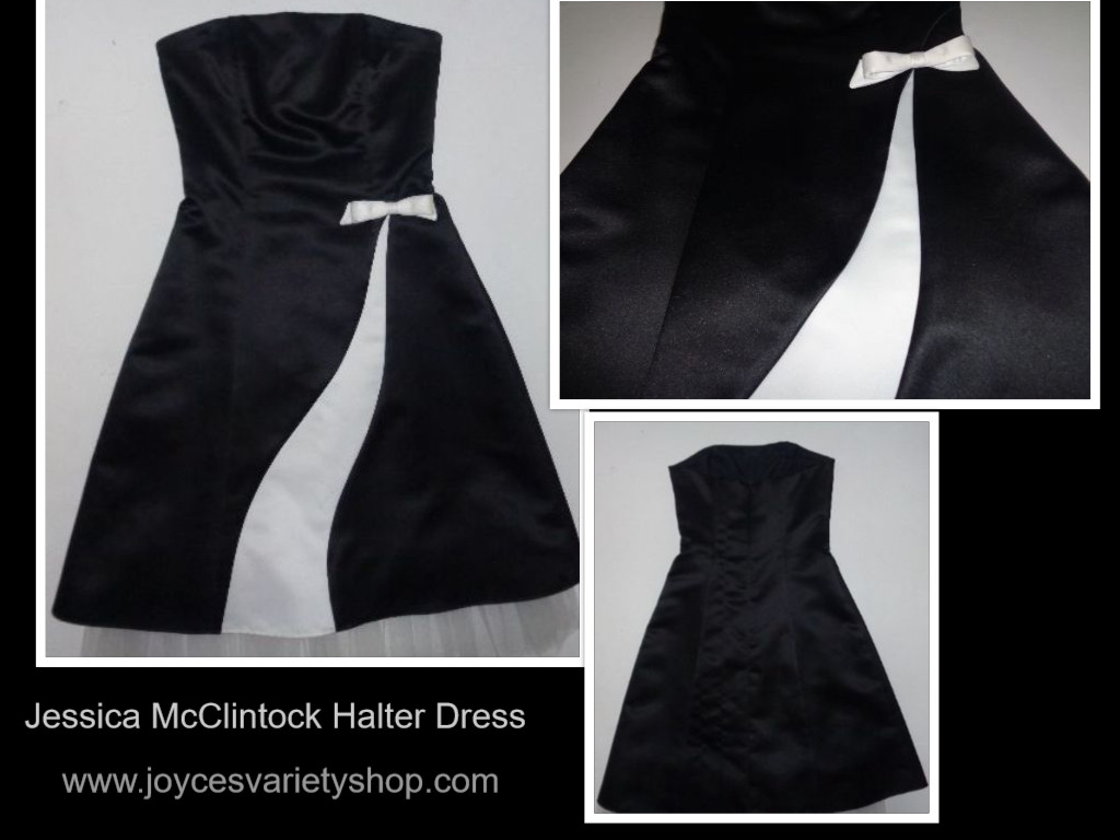 Jessica McClintock for Gunne Sax Black & White Halter Dress Sz 3/4