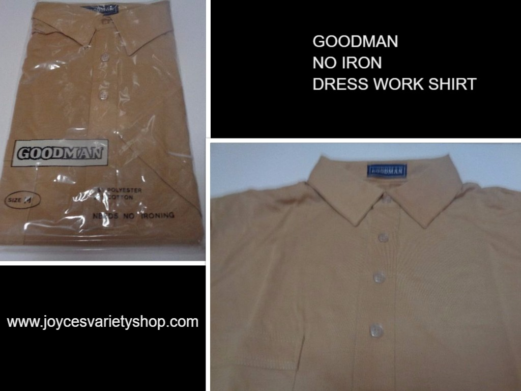 Men's Golf Work Dress Shirt NWT Khaki Beige Short Sleeve No Iron Size Med, Small