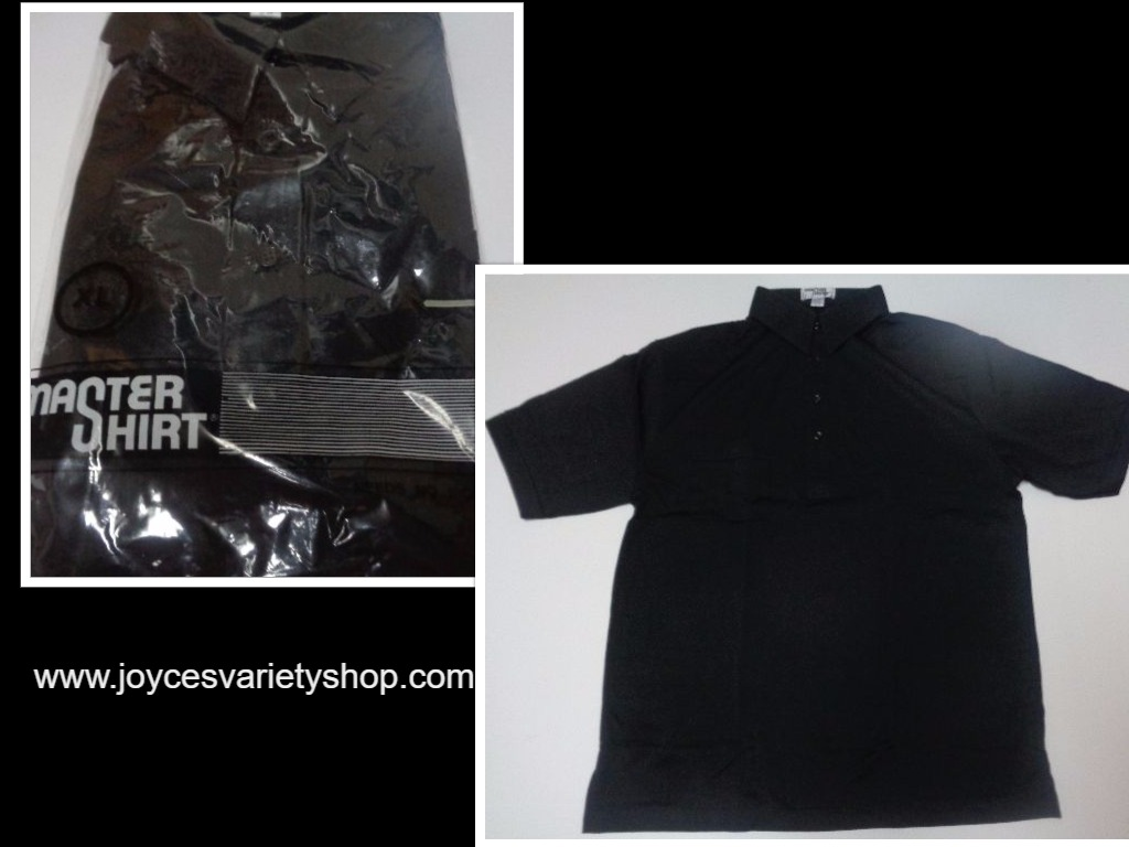 Men's Golf Shirt NWT Black Short Sleeve No Iron Master Shirt Size XL