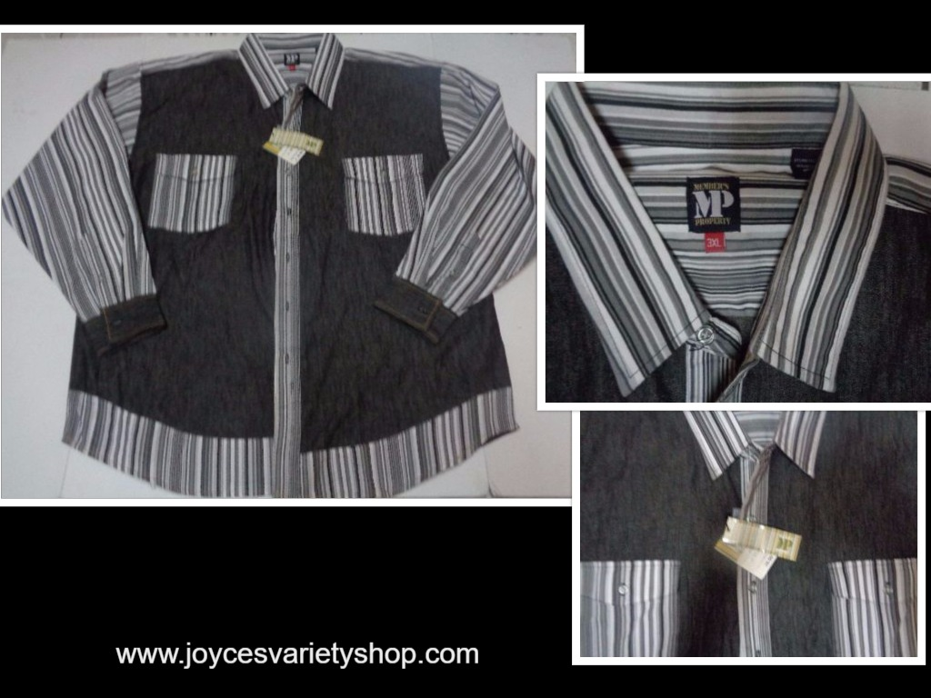 Men's Members Property Shirt NWT Black & White 3XL Long Sleeve MP