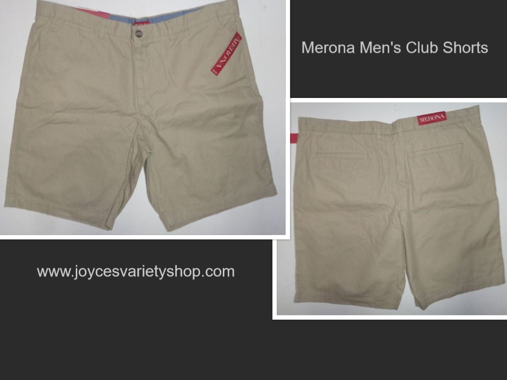 Merona The Club Khaki Men's Shorts NWT Sz 42 Flat Front