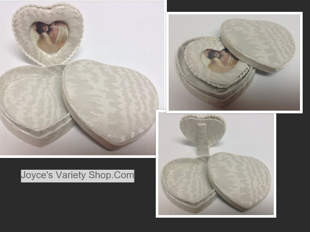 Miniature Heart Photo Frame In Heart Box Pearl White
