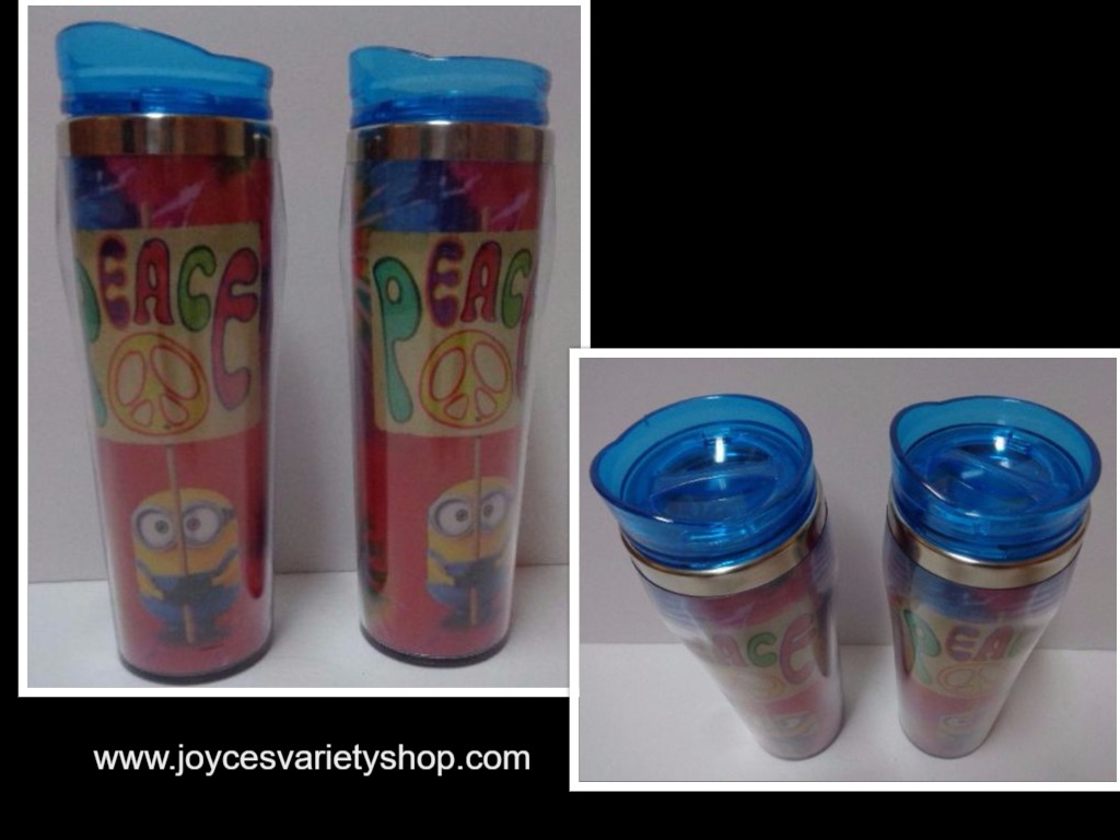 NEW LOT 2 MINIONS Despicable Me Peace Tie Dye 16 oz Plastic Travel Cups Set
