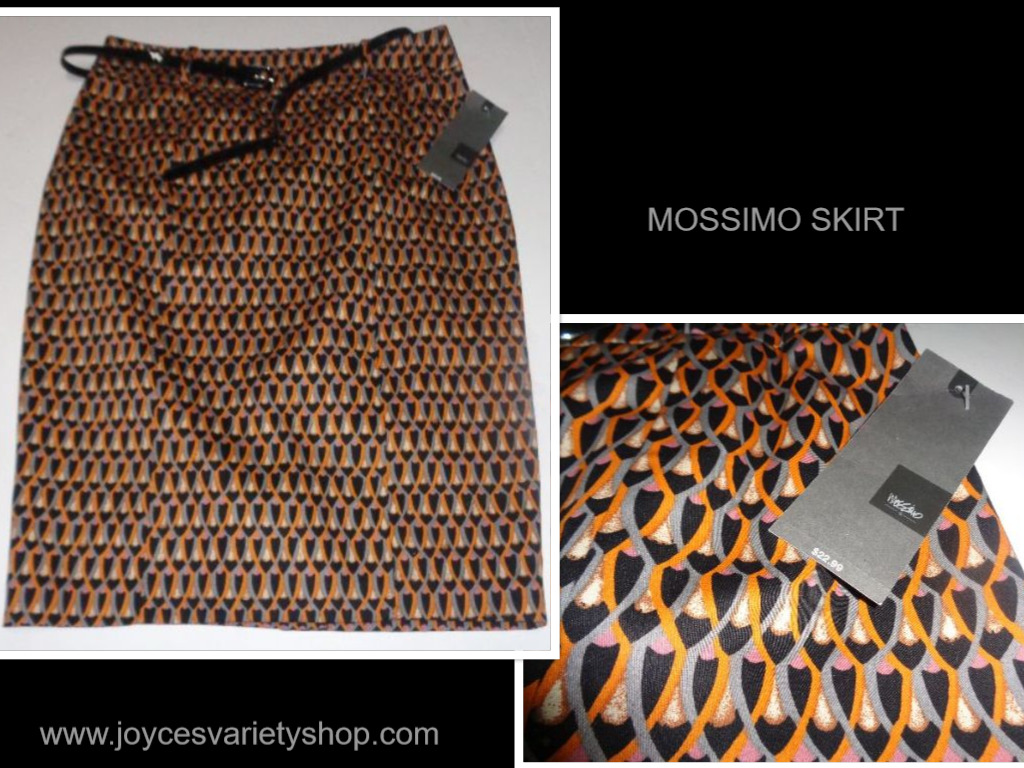Mossimo Black & Gold Geometric Pencil Skirt & Belt NWT Size 8