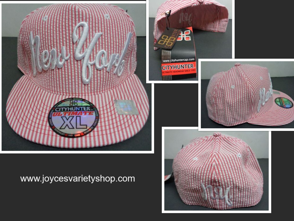 New York Baseball Cap XL Pink White Pin Striped NWT City Hunter
