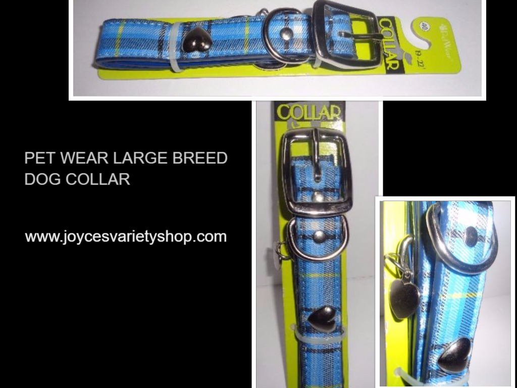"Pet Wear Dog Collar Blue Plaid NWT 19-22"" Large Breed"