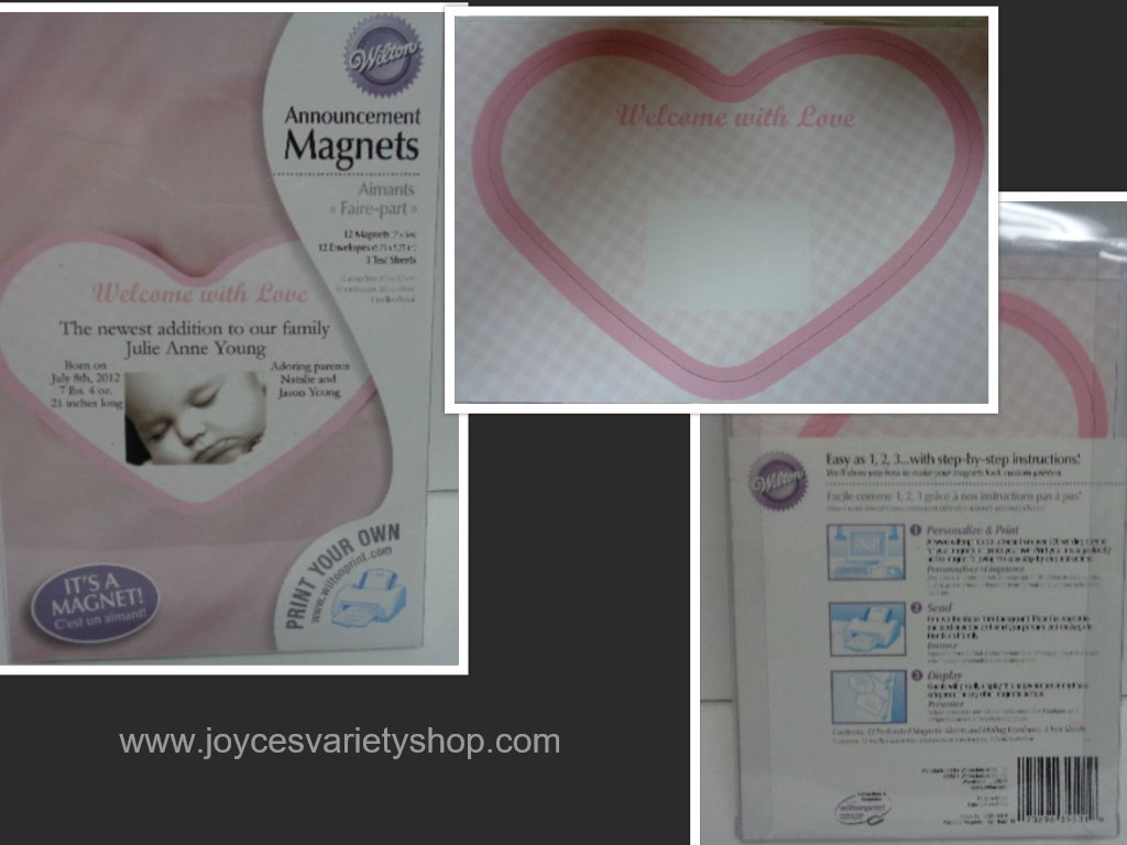 Pink Heart Baby Magnets