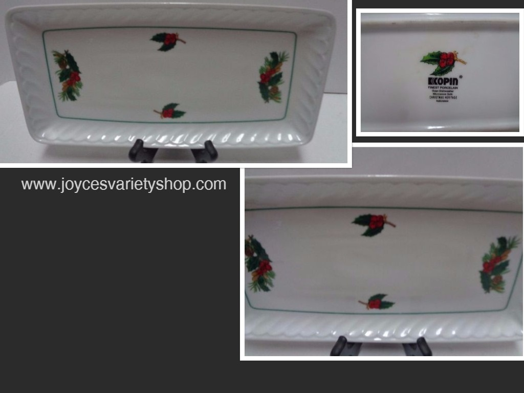 Bread Cake Porcelain Serving Dish Kopin Christmas Heritage Holiday Holly Berry