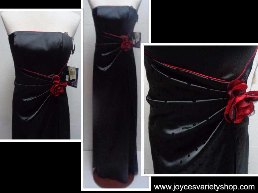 Formal Prom Dress Halter Black Red Rose Accent NWT RAMPAGE SZ 9 Tall Made USA