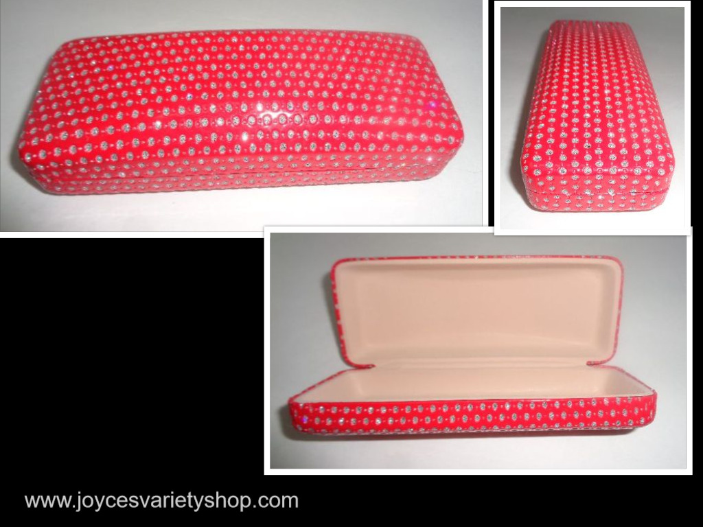 Red Accented Sunglasses Glasses Hard Case NWT 6""