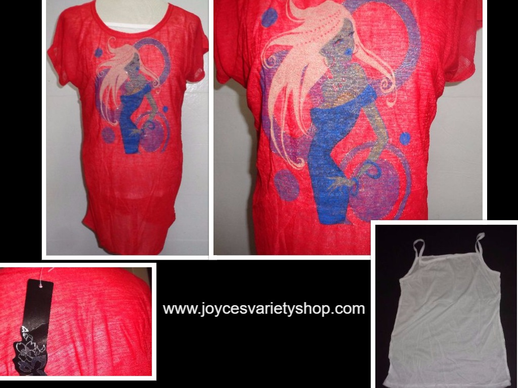 Uptown Girl T-Shirt Tank & Sheer Over NWT Women's SZ Med Red Multi Color