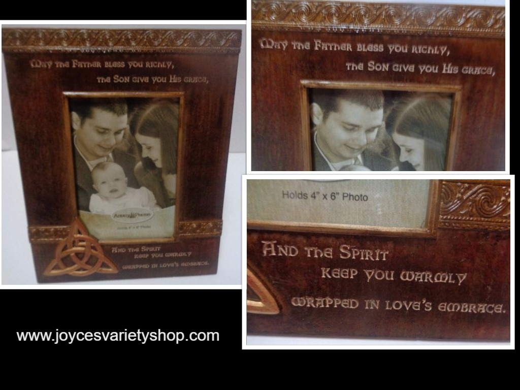 Christian Religious Photo Frame Trinity Blessing 4 Baby NWT 4x6 photo, 9x8 Frame
