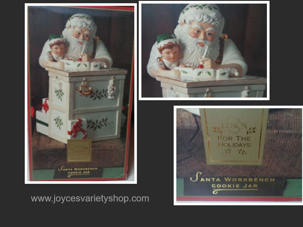 "Lenox 12"" Tall Holiday Santa Workshop Cookie Jar"