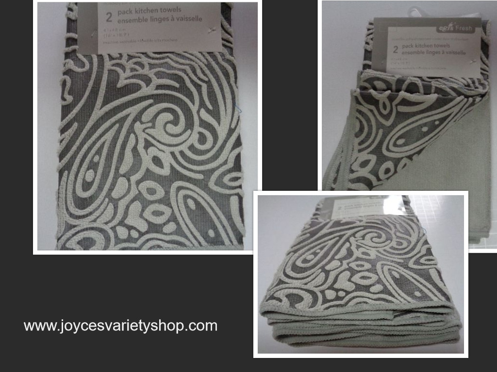 "Textured Plush Kitchen Towel 2 Pack Silver Gray 16"" x 18"""