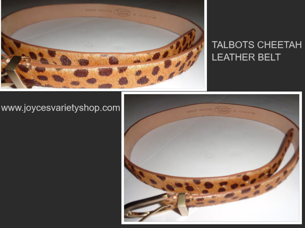 "Talbots Genuine Leather Cheetah Belt Sz XS 35"" W"
