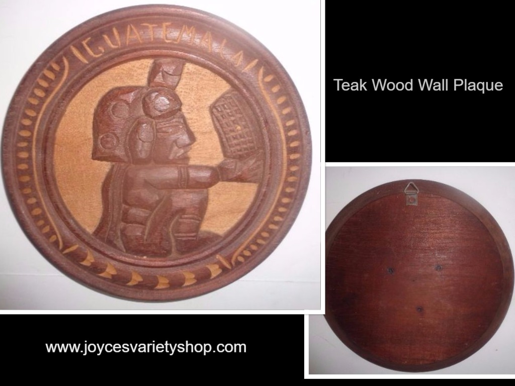 "Solid Teak Wood Carved Wall Art 16"" Diameter ""Working Basket"""