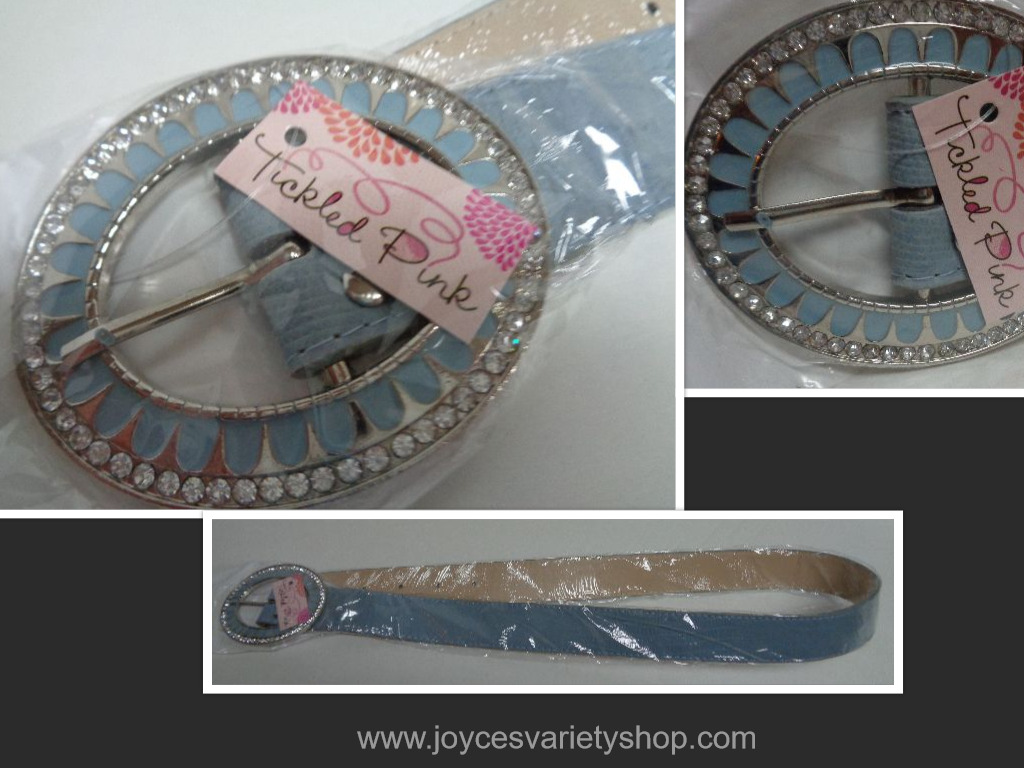 Tickled Pink Blue Faux Leather Belt & Accented Buckle