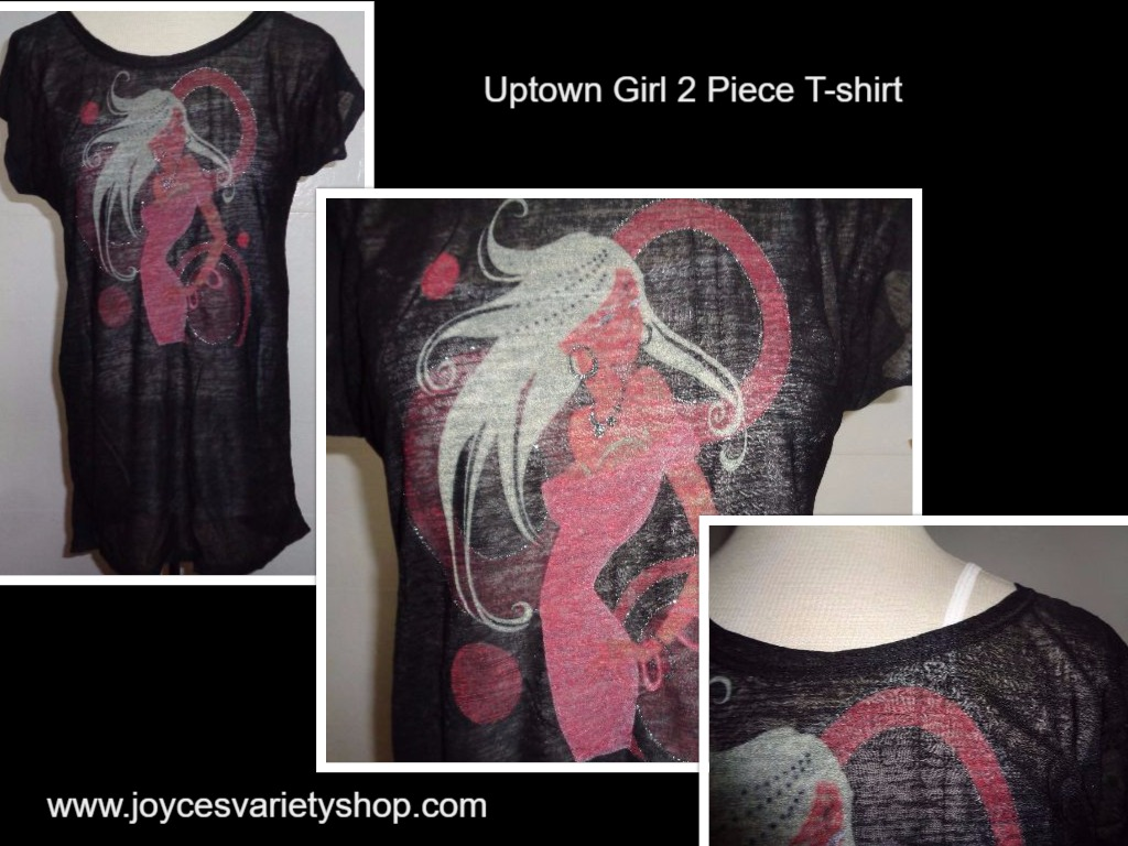 Uptown Girl Two Piece T-Shirt Tank & Sheer Over NWT Women's SZ Medium Black