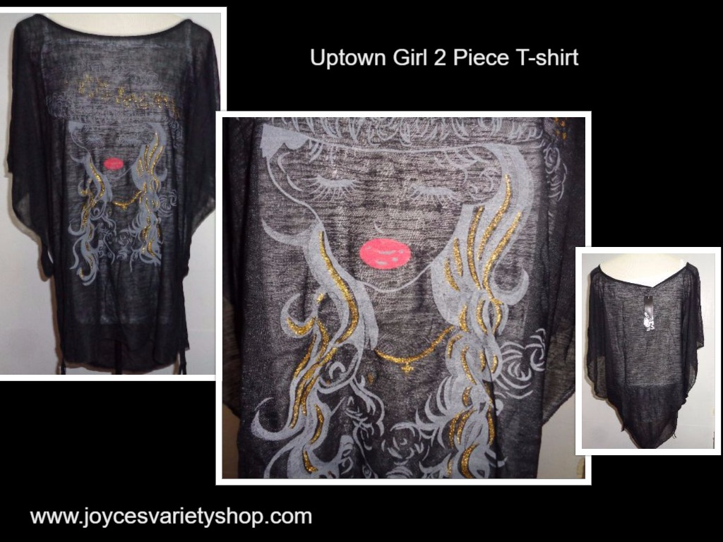 Uptown Girl Gold Highlights T-Shirt Tank & Sheer Over NWT Women's SZ Med Black