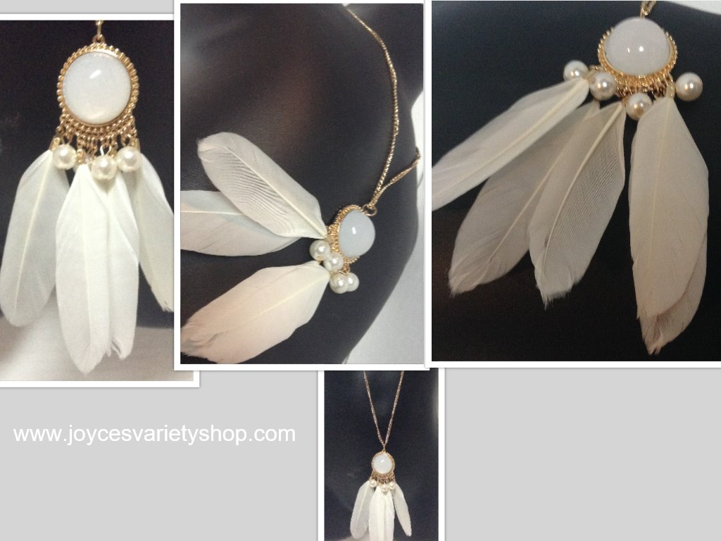 Dream Catcher Necklace White Feathers
