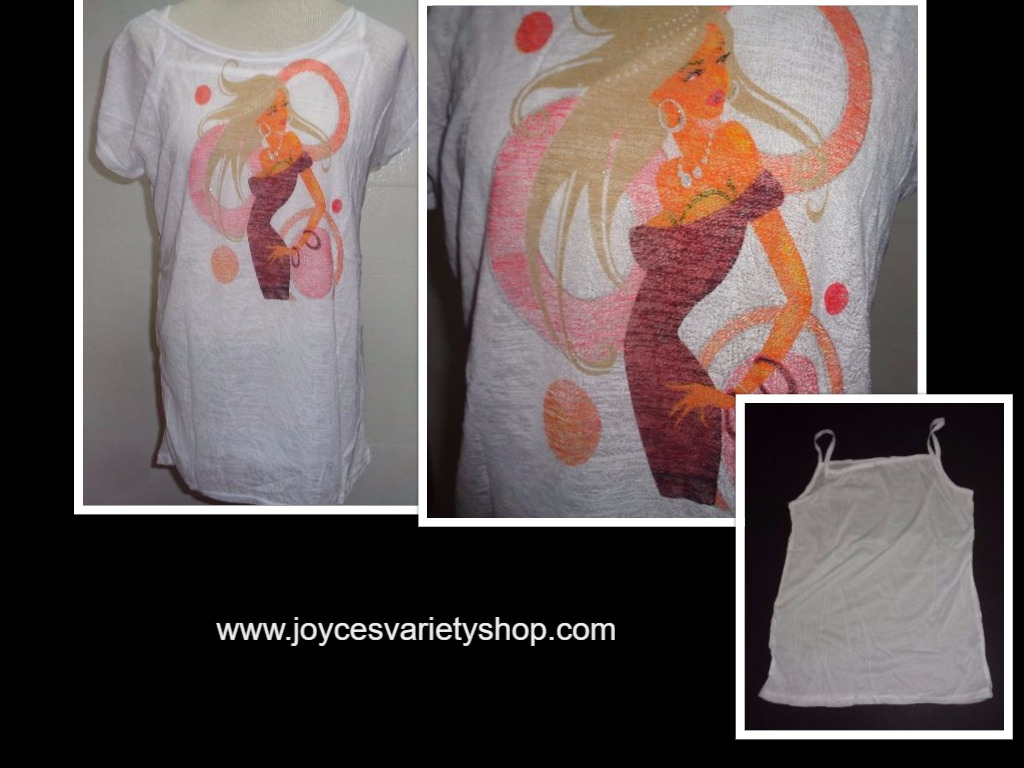 Uptown Girl White 2 Piece Tank T-Shirt NWT Sz Large