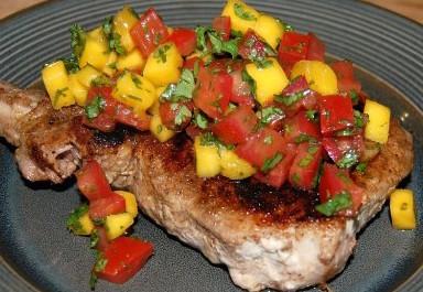 Caribbean Pork Chops with Mango Salsajpg
