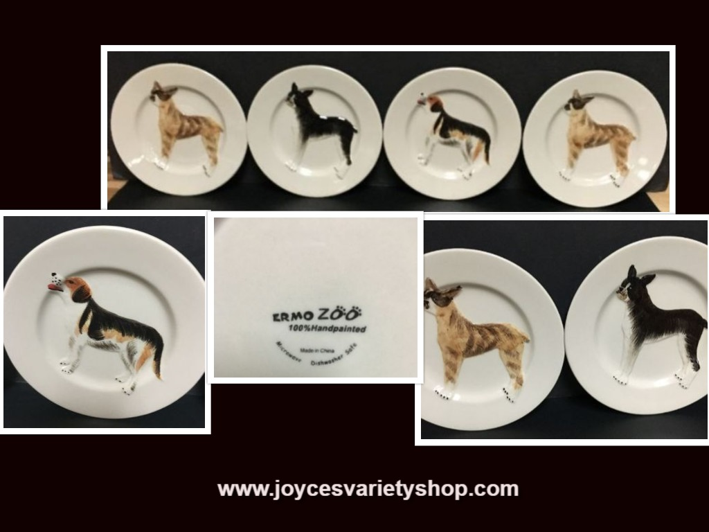 "Ermo Zoo Handpainted 7"" Saucer Plates Dogs Set of Four"