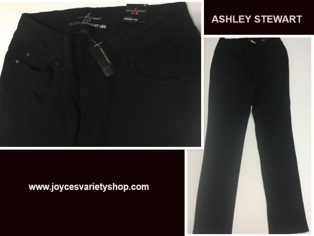 Ashley Stewart Jeans Black Straight Leg Sz 14