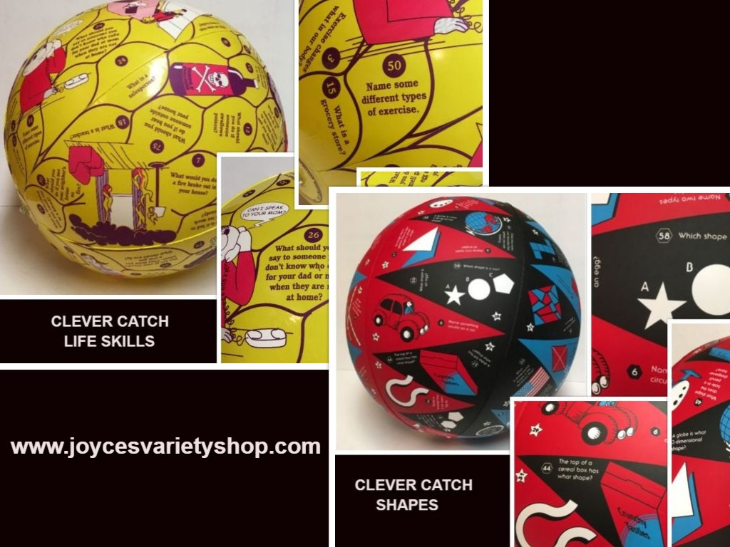 Clever Catch Educational Inflatable Ball Life Skills (gr 1-3) or Shapes (gr 2-6)