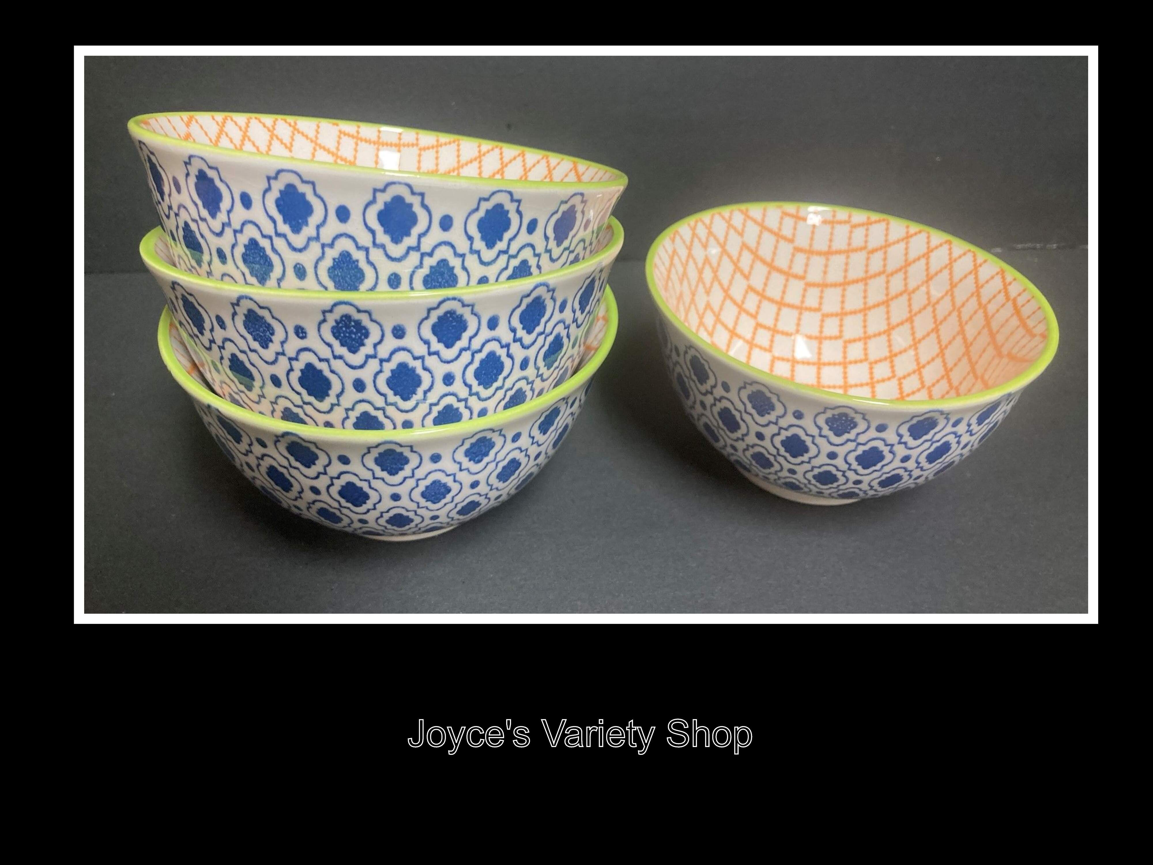 "Ceramic Decor Dessert Bowls Geometric 5"" Set of 4 Orange & Blue Patterns"