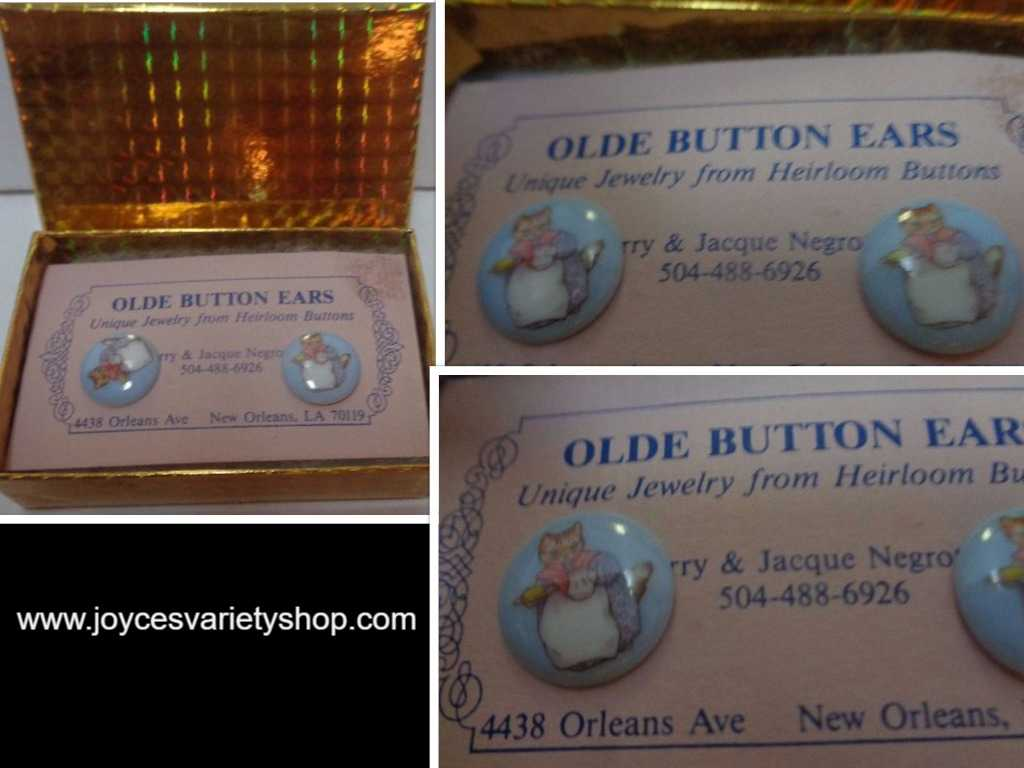 Olde Button Heirloom Earrings Mama CAT NWT by Barry & Jacque