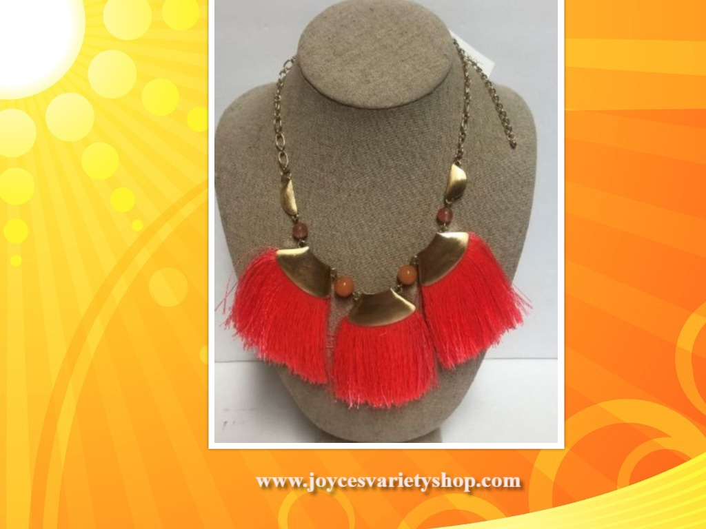 Tassel Choker Necklace Bright Coral African Style Stony Jewelry 9""