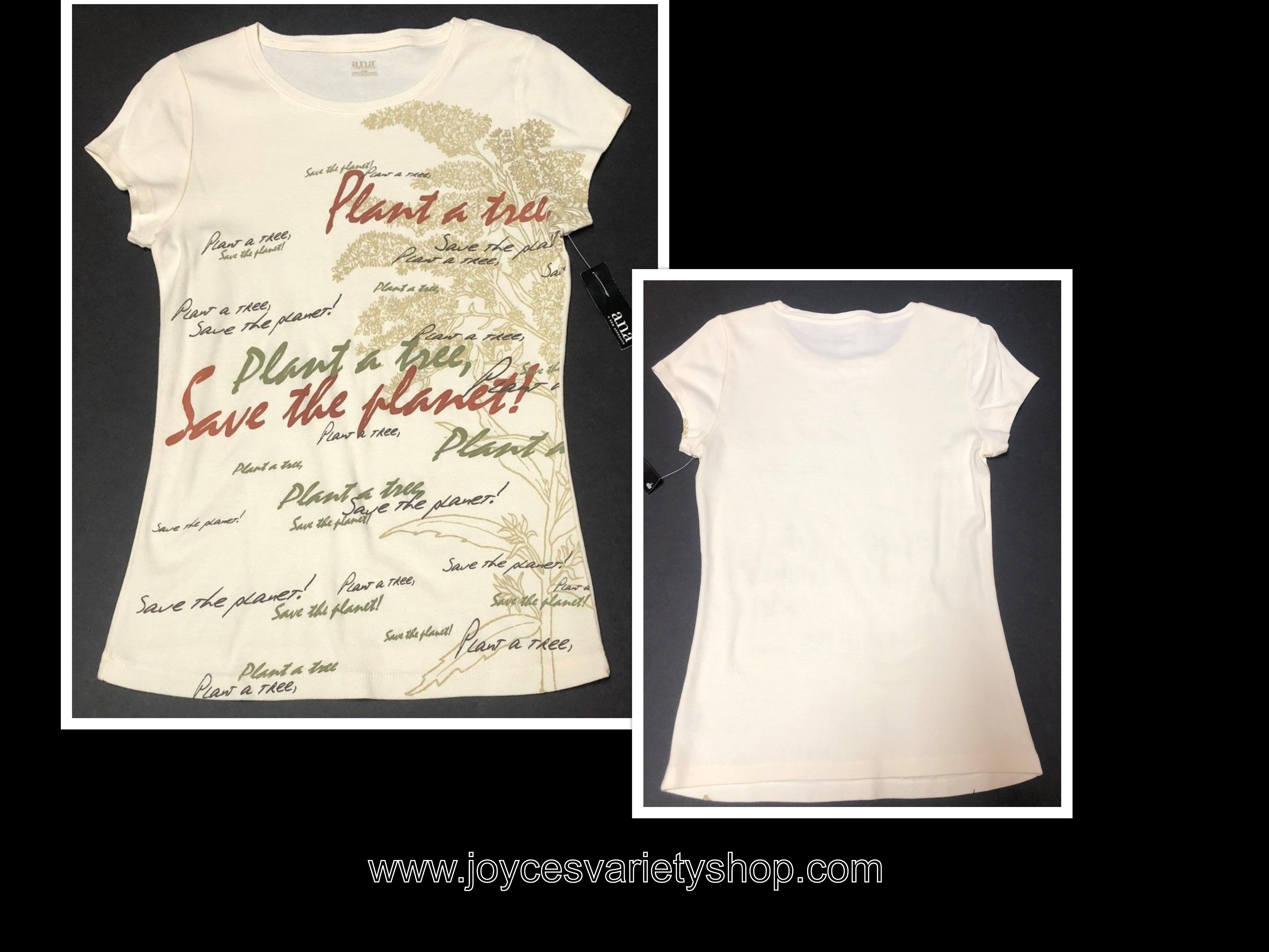 ANA T-Shirt Women's M Ivory Plant A Tree Save The Planet SZ MM